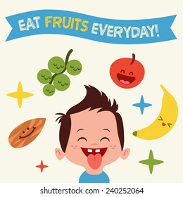 Happy Kid loves to eat Yummy fruits Vintage Vector illustration card