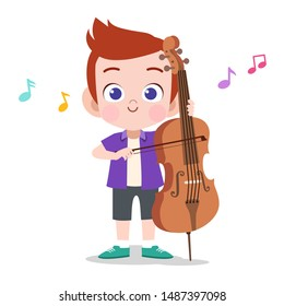 happy kid play cello music vector