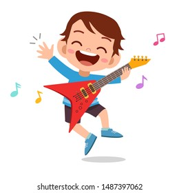 happy kid play electric guitar music vector
