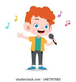 happy kid play sing karaoke music vector