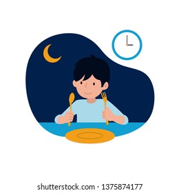 a happy kid ready for sahur or pre-dawn meal before start fasting vector illustration with night scene background. children's ramadan activity concept design.