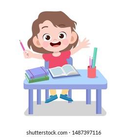 happy kid study homework vector illustration