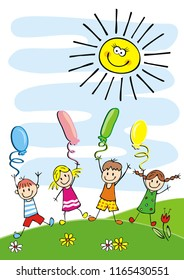 Happy kids and balloons, funny postcard, vector