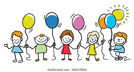 Happy kids with balloons together. Hand-drawn sketched doodles in beautiful outfits and costumes. Modern vector illustration isolated in cartoon style.