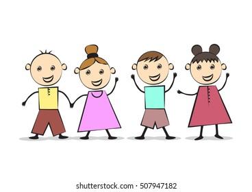 Happy Kids Best Friends - Vector Illustration, Graphic Design. Flat Color Design. For Web, Websites, App, Print, Presentation Templates, Mobile Applications, Promotional Materials