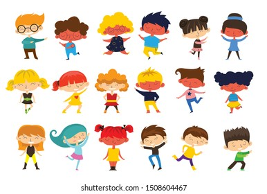 Happy kids cartoon collection. Multicultural children in different positions isolated on light background