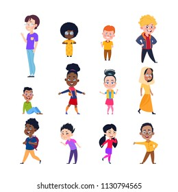Happy kids. Cartoon european, asian and african children. Boys and girls in casual wear. Isolated vector characters. Illustration of asian and african boy girl