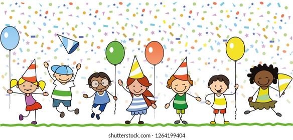 happy kids celebrating birthday party - children illustration