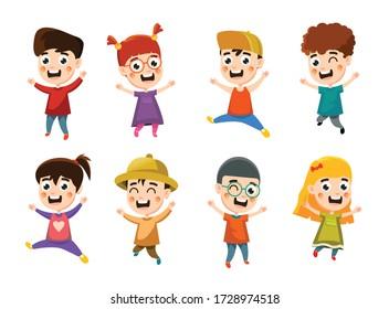 happy kids character vector design