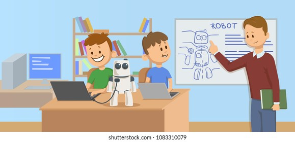 Happy kids in classroom studying robotics, science. Teacher explaining robot mechanics to the students in front of a robot scheme. Cartoon vector illustration. Flat style. Horizontal.