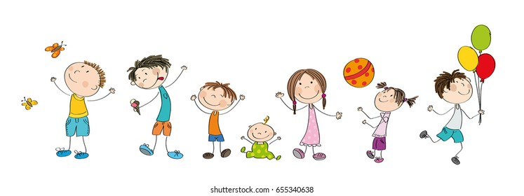 Happy kids collection - original hand drawn illustration of cheerful children