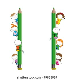 Happy kids and colorful banner with crayons