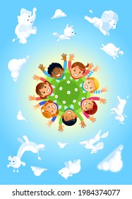 Happy kids of different races hand up around the globe as a symbol for international unity and peace on blue background with different funny clouds animal-shaped. Cartoon vector illustration.