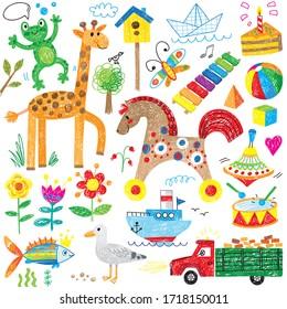 happy kids doodle hand drawn giraffe horse toys truck ship frog fish flowers bird ball cartoon cute icon set
