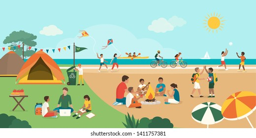 Happy kids enjoying summer camp together on the beach: they are playing, camping and doing sports together, diversity and education concept