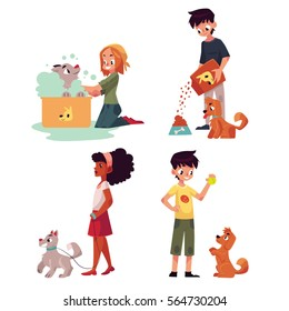 Happy kids feeding, washing, walking a dog, playing with puppy, cartoon vector illustration on white background. Set of children with dog, puppy - playing with it, washing, feeding, walking