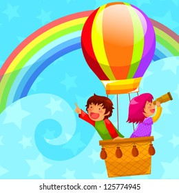 happy kids flying in a hot air balloon (JPEG available in my gallery)