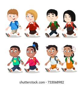 Happy Kids Go To School. European, Asian, African and Indian Kids Go With The Backpacks. Vector Illustration Set