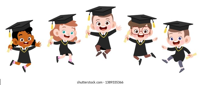 happy kids graduation vector illustration isolated