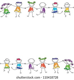 happy kids hand in hand, cute background template