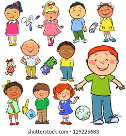 Happy kids, hand drawn children isolated, sketch
