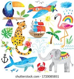 happy kids hand drawn illustration doodle animals fish shark elephant flamingo airplane bird summer set