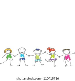 happy kids hand in hand?sample text for you