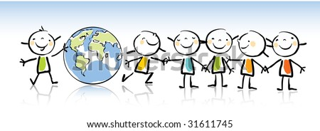 Happy Kids Holding Globe Vector Illustration Stock Vector Royalty