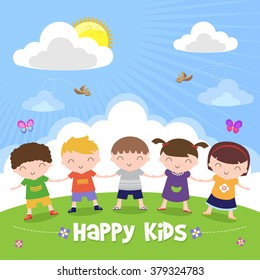 Happy kids holding hand isolated on nature background, Modern flat design, Vector illustration