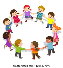 Happy kids holding hands in a circle. Cute boys and girls having fun