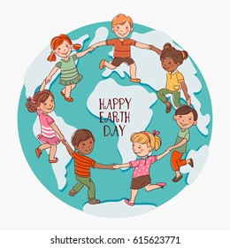Happy kids holding hands and dancing around the world. Cute boys and girls having fun. Cartoon outline style