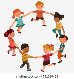 Happy kids holding hands and dancing in a circle. Cute boys and girls having fun. Cartoon outline style