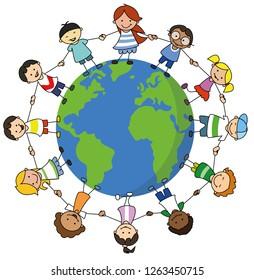 happy kids holding hands on world illustration , children around the world