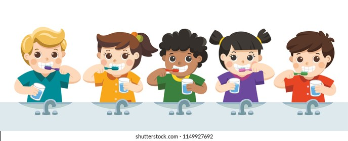 Happy Kids Holding Toothbrush and Glass of Water Brushing their Teeth.
