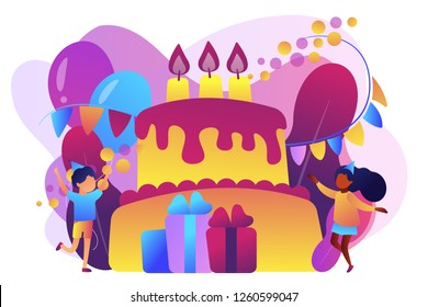 Happy kids at huge cake with candles and gift boxes celebrating birthday party. Kids birthday party, kids party ideas, indoor party spot concept. Bright vibrant violet vector isolated illustration
