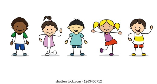 happy kids illustration playing and dancing children, vector
