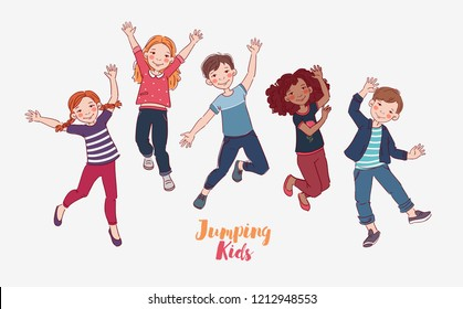 Happy kids jumping over white background. Happiness, childhood, and freedom concept