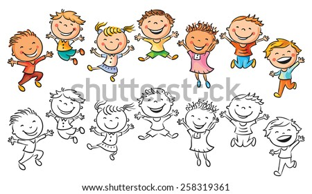 happy kids laughing jumping joy no stock vector royalty free rh shutterstock com