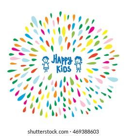 Happy kids logo or card for preschool or kindergarten, funny vector illustration