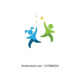 Happy kids logo vector illustration