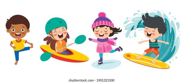 Happy Kids Making Various Sports