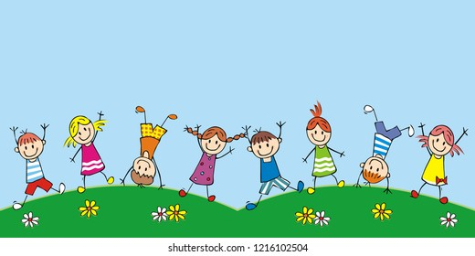 Happy kids on the meadow, funny vector icon. Group of girls and boys. Children jumping on the meadow. At background is blue sky. Concept for greeting card.