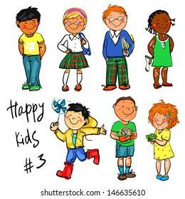 Happy Kids - part 3. Hand drawn clip-art.