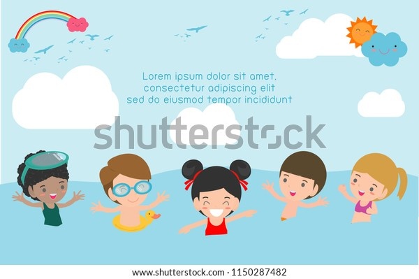 Happy kids play and swim at the sea. Happy Holiday on the beach, Happy children on the beach,Template for advertising brochure,your text, Kids and frame,child and frame,Vector Illustration