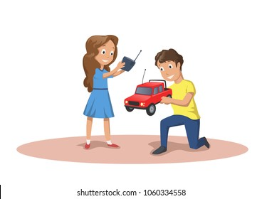 Happy kids playing with radio controlled cars. RC model. Cartoon vector illustration, isolated on white background.