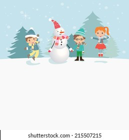 Happy kids playing with snow. Can be used for retro christmas card. Vector illustration.