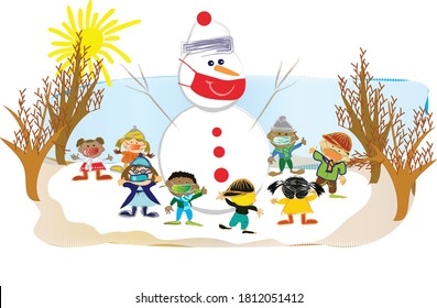 Happy kids playing with a snowman in snowy winter day outdoors. Fun on Christmas vacation while wearing face masks during the Coronavirus (Covid-19) pandemic.