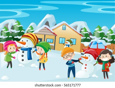 Happy kids playing in winter illustration