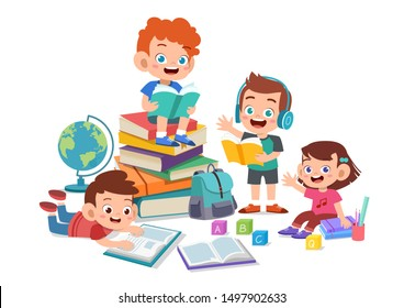 Happy kids read book and study together