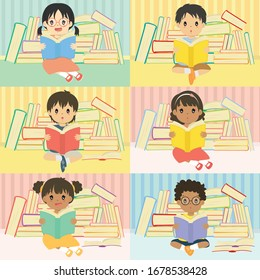 happy kids reading a book and sitting in front of a pile of books. Kids reading vector set